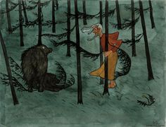 Finnish National Gallery - Art Collections - Fear in The Woods, Hugo Simberg. An aquarelle. Oil Painting Gallery, Art Gallery, Oil Paintings, Illustrations, Illustration Art, Animal Symbolism, Magic Realism, Oil Painting Reproductions, Les Oeuvres