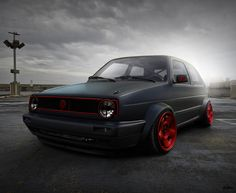 GTI. don't like the stretched tire look. Just the flat black and red look.