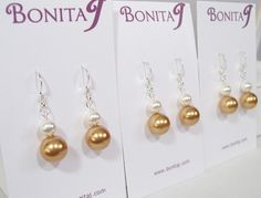 Bright Gold & White Pearl Bridesmaid Earrings harvest by bonitaj, #HarvestGoldEarrings #BrightGoldEarrings #WhiteEarrings