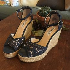 Steve Madden wedges 4inch Steve Madden Wedges. Look great with a summer dress or wide leg pant. Steve Madden Shoes Wedges