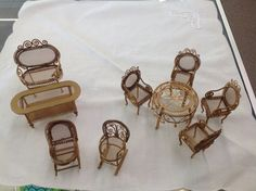 Vintage 9 piece set of metal doll house by Antiquesmarketplace
