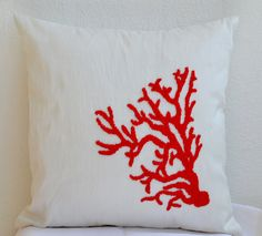Coral Pillow Red White Pillow Decorative Throw Pillow Cover Ivory Beaded Coral Pillowcase All sizes Nautical Oceanic Coral Reef Cushion Gift by AmoreBeaute, $24.90 USD