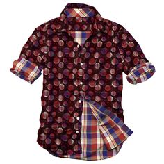 men's casual shirt, yarn dyed Checks and printed shirt, Red color Shirt