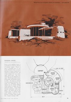 Modern Floor Plans, Modern House Plans, Small House Plans, House Floor Plans, Vintage House Plans, Vintage Homes, Estilo Art Deco, House Blueprints, Futuristic Design