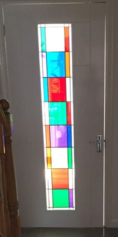 In 2016 we created this simple design for a client that wanted a flood of colour to shine onto the newly tiled floor and they [. Glazed Glass, Internal Doors, Large Windows, Colored Glass, Glass Door, Simple Designs, Colours, Deco, House