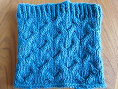 a quick-to-knit squooshy cowl with a deep textured cable pattern that forms little Y shapes… or upside-down Y shapes, since you can wear it with the ribbing at the top or bottom.