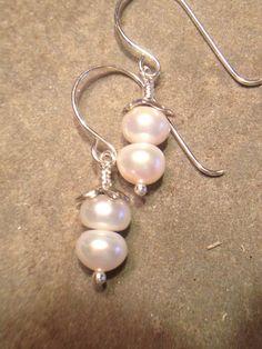 White Pearl Earrings Pearl Dangles Sterling by LadonnaStudio, $32.00