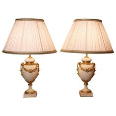 Pair Of French Neoclassical Marble Lamps Decor, Marble Lamp, Pleated Shade, Modern Furniture, Brass Table Lamps, Lamp Light, Marble, Lavender Room, Neoclassical