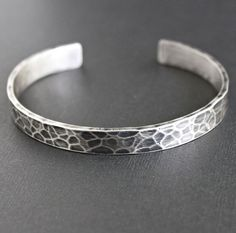 Mens Hammered Cuff Bracelet Oxidized Sterling by LynnToddDesigns