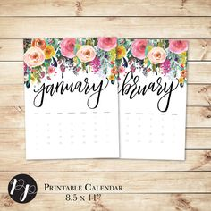 Desk Calendar 2016 Handlettered Printable Wall/Desk Calendar Floral // black and white, DIY calendars, Monthly planner, digital // Peac by PeachpodPaperie on Etsy