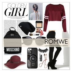 """Golden girl."" by rhiannonpsayer ❤ liked on Polyvore featuring Murphy, Moschino, Topshop, Casetify, Charlotte Tilbury, Clinique, NARS Cosmetics and Bare Escentuals"