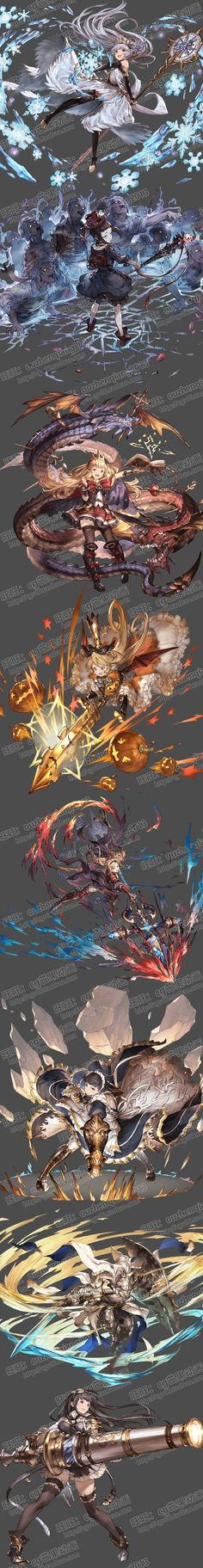 日系卡牌游戏 原画素材 手游背景 立绘 角色 怪物设定 场景资料