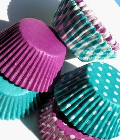 Purple and Teal Cupcake Liner Combo Pack of 6 styles