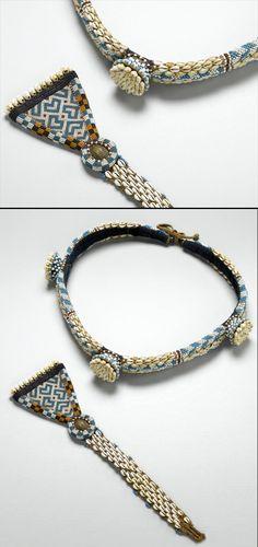 Africa | Belt and belt ornament from the Kuba people of DR Congo | Cowrie shells, vegetal fiber, glass beads, brass