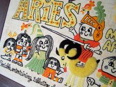 Aries Vintage Framed Embroidery Zodiac.