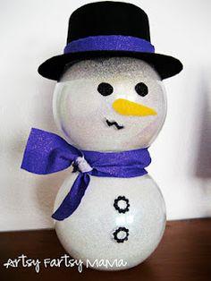 Glitter Bowl Snowman! #Crafts