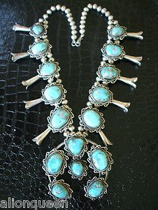 Heavy Vintage Tribal American Sterling Silver Turquoise Squash Blossom Necklace | eBay