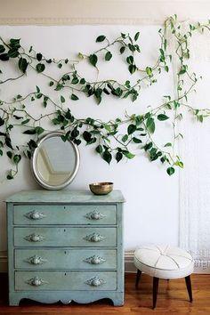 ポトスをこんな風に壁に這わせて。 ウォールステッカーの植物では物足りない方は、参考にしてみてもいいかも♪