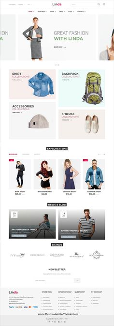 Linda is clean and modern design responsive multipurpose #Shopify theme for stunning fashion #onlineshop #eCommerce website with 21+ niche homepage layouts to live preview & download click on image or Visit #webdesign