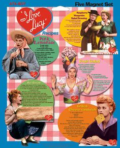 I Love Lucy Recipes 5 Pack Magnets $9.95 - This 5 pack of Lucy magnet recipes are fun and functional.  Each recipe magnet features a different I Love Lucy episode as well as a different recipe. These retired magnets are available at LucyStore.com