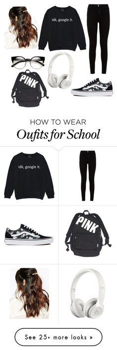 """School outfit"" by cece-boutique on Polyvore featuring 7 For All Mankind, Vans, Suzywan DELUXE, Beats by Dr. Dre and Victoria's Secret"