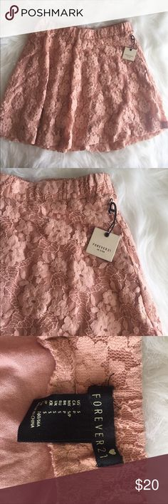 Lace floral pink flowy Skirt Forever 21, new with tags, floral lace with a inside layer. Very pretty vintage pink. Size small. Fun, flirty, flowy a-line skirt for summer! Forever 21 Skirts Mini