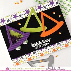 How To Make an Easy Halloween Shaker Card! Witch Hat Shaker - Halloween Hoopla Shaker Kit. Queen and Company, Michele Boyer