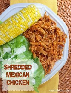 Shredded Mexican Chicken - I love this recipe! So versatile and so delicious. Only 184 calories or 3 Weight Watchers SmartPoints per serving. www.emilybites.com