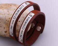 Customized Matching Couple Bracelets  Two 2 Leather