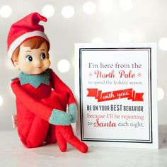 Notes From The Elf - Digital Files for DIY Printable Note Cards - Christmas Fun