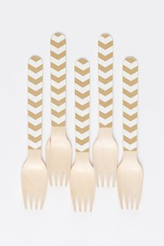 Metallic Gold Chevron Paper-10 Wooden Utensils - Seen on Real Simple on Etsy, $10.00
