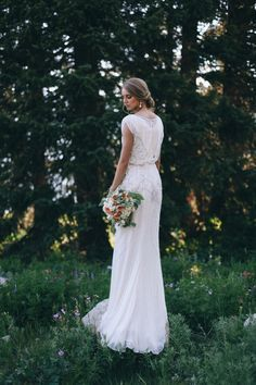 Modest wedding dress by Jenny Packham at Alta Moda. Photo by Tessa Barton
