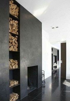 Stunning fireplace with Marrakech Walls in the color Slate Grey. With courtesy of Huizedop.nl Also avalaible in USA / Canada Visit the DIY video!