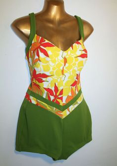 70's Vibrant Tropical Red and Green Swimsuit L XL. $125.00, via Etsy.