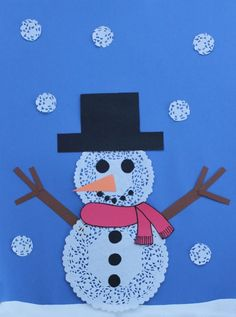 Let it snow!  Cute paper doily snowman for the kids to make