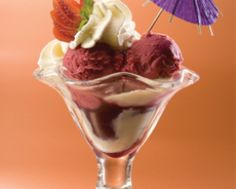 Alaska Ice Cream. This ice cream has blackberry and  vanilla  ice cream, top with whipped cream and berries sauce. You can find it at Crepes an Waffles ( Bogota, Colombia) it is an amazon place.