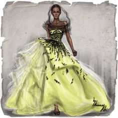 Oscar de la Renta S/S 2014 by Shamekh llustration.Files: New York Fashion Week Illustrations by Shamekh