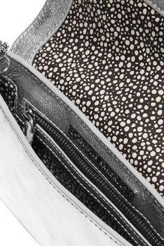 Loeffler Randall - Metallic Textured-leather Clutch - Silver - one size