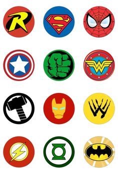 12 Round Circle Superhero Logo Edible Wafer Paper Cake Cupcake Toppers for sale online Avengers Birthday, Superhero Birthday Party, Boy Birthday, Birthday Parties, Cake Birthday, Avenger Party, Superhero Cake, Superhero Logos, Logo Super Heros