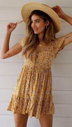 Yellow Floral Button Down Skater Dress – Gabi Swimwear Casual Summer Dresses, Cute Summer Outfits, Spring Outfits, Cute Outfits, Yellow Dress Summer, Yellow Floral Dress, Boho Outfits, Fashion Outfits, Floral Dress Outfits