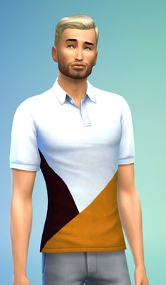 Sims 4 Updates: Basic polo shirt recolor at Kiwi Sims 4