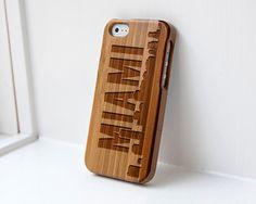 Custom iphone Bamboo case engraved Miami Skyline $34.99