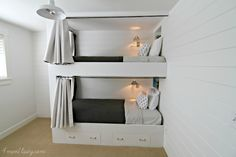 Bunk beds are great to save bedroom space with 2 or more person. If you want to build it, bookmark this collection of free DIY bunk bed plans. Bunk Beds Boys, Bunk Bed Plans, Bunk Beds Built In, Modern Bunk Beds, Cool Bunk Beds, Bunk Rooms, Kid Beds, Bedrooms, Bunk Bed Designs
