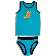 Frugi Φανελάκι και Σλιπ με Δεινόσαυρο Μπλέ - Sunnyside Sunnies, Bikinis, Swimwear, Underwear, Vest, Dinosaurs, Kids, Pants, Blue