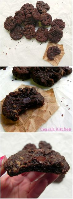 Delicious + Decadent Chocolate FLOURLESS Peanut Butter Cookies with only FIVE ingredients! #Vegan + #GlutenFree - Ceara's Kitchen