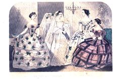 Godey's Lady's Book, Feb.1857.  Bride's Dress - First Bridesmaid - Bride's Sister - Guest http://www.uvm.edu/~hag/godey/fashion/cpdesc2-57.html