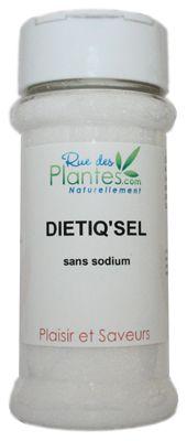 Sel diététique qui permet de réduire les apports en sodium sans pour autant renoncer au goût des aliments. Salière de 180g