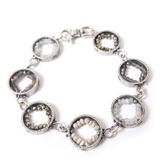 Erica Stankwytch Bailey sterling silver man-made geode circle bracelet with pyrite, labradorite, rainbow moonstone and white sapphire Silver Man, White Sapphire, Rainbow Moonstone, Labradorite, Jewels, Sterling Silver, Gallery, Bracelets, Jewerly