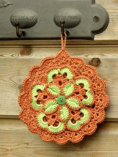 handmade leather bag crochet coaster Do it yourself_tips modern glass orb lamp Doll Crochet Potholders, Crochet Motifs, Crochet Squares, Crochet Doilies, Crochet Flowers, Crochet Stitches, Crochet Patterns, Crochet Coaster, Granny Squares