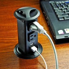 Hide-a-Power Pop-Up Power Strip with 2 Outlets, 2 Powered USB Ports